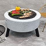 DJLOOKK Parrillas de mesa para barbacoa, calentador de jardín, fogata y barbacoas de leña, cuencos de fuego de carbón para barbacoa con protector de rejilla y gancho de elevación