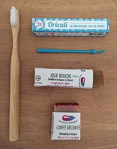 Cosmétiques Bio Zéro Déchet - 4 produits : brosse à dents en bambou, cure-oreilles en bioplastique, dentifrice solide et shampoing solide