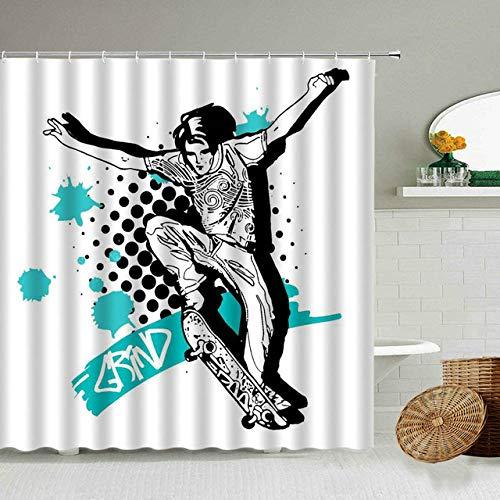 None brand Bewegung Basketball Slam Ball Action Duschvorhang Sport Spiel Poster Stil Badezimmer Dekoration wasserdichte Polyester VorhäNge-W180xh200cm