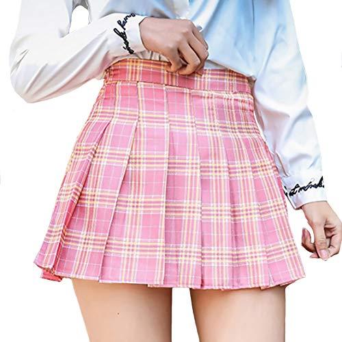 DAYTOYXZ Rock Damen Mädchen Kurze hohe Taille gefaltete Skater Tennis Schule Rock (Rosa, L)