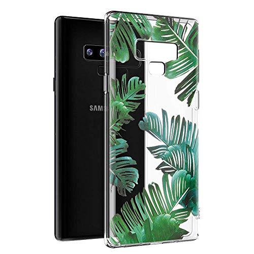 Cover Samsung Note 9, Eouine Custodia Cover Silicone Trasparente con Disegni Ultra Slim TPU Morbido Antiurto 3D Cartoon Bumper Case Protettiva per Samsung Galaxy Note 9 2018 Smartphone (Foglie)