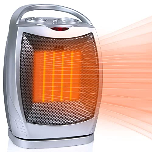 Portable Ceramic Space Heater 1500W/750W, 2 in 1 Oscillating Electric Room Heater with Tip Over and Overheat Protection, 200 Square Feet Fast Heating for Indoor Bedroom Office Desk Home