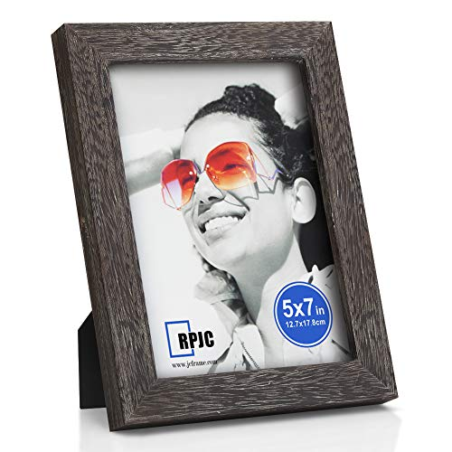 RPJC 5x7 Picture Frames Made of Solid Wood High Definition Glass for Table Top Display and Wall Mounting Photo Frame