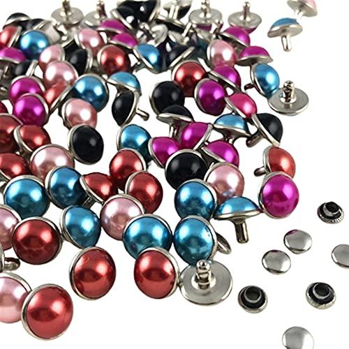 Duradero 100 sets imitación perla remaches mezclados color remaches cuero artesanía punk studs ajuste cinturones zapatos bolso pulseras bricolaje para la decoración de cuero de bricolaje