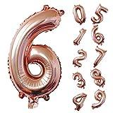 Kier Globos Número Oro Rosa Globos de Papel de Aluminio Gran Número Globos Fiesta de Cumpleaños Suministros Decoración, Globo Gigante Número 6 happy birthday decoracion 6 año