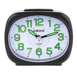 Juboos Silent Non Ticking Analog Alarm Clock with Nightlight Snooze Travel Alarm Clock Silent Sweep Second Hand, Lightweight Analog Quartz Clocks for Bedrooms (Black-561)