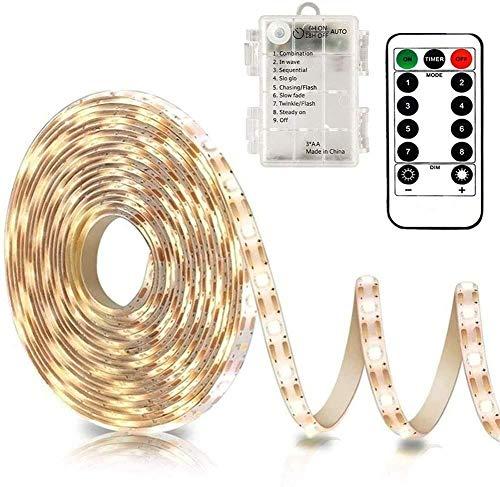CCILAND - Tira de luces LED con pilas, 3 metros, 90 tiras de luz para decoración, autoadhesiva, mando a distancia, temporizador, 8 modos, regulable, blanco cálido