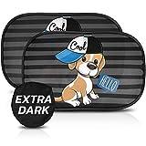 CARAMAZ Tendine Parasole Auto Bambini Extra Scuro con Protezione UV certificata - Parasole Bambini Accessori Auto, 2 Pezzi 51x31cm, Tende da Sole per Esterno, Protezione Solare Raggi UV Cane