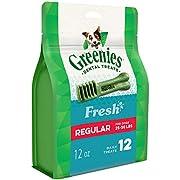 GREENIES Regular Natural Dog Dental Care Chews Oral Health Dog Treats Fresh Flavor, 12 oz. Pack (12 Treats)