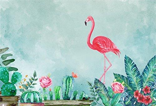 YongFoto 1,5x1m Vinilo Toile de Fond Anniversaire Flamant Rose Cactus et Fleurs Fond Décors Studio Photo Banner Enfant Video Fete Photobooth Photographie Accesorios