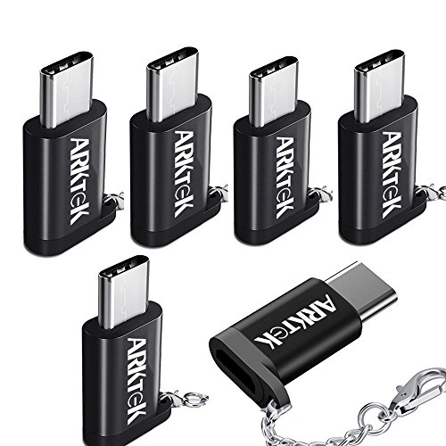 ARKTEK USB-C to Micro USB Adapter USB Type C (Male) Convert to Micro USB (Female) with Keychain Support Data Sync and Charging Adapter for Note 9 Google Pixel 3 and More (Pack of 6)