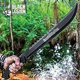 Black Legion Swamp Master Machete Knife with Sheath - Stainless Steel Blade, Textured TPU Handle, Lanyard - Length 24'