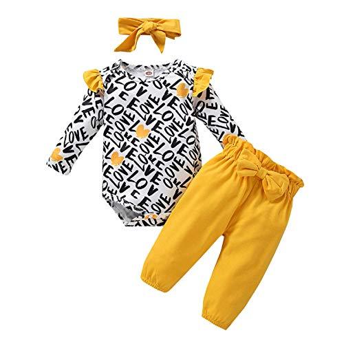 Rehomy Baby Mädchen Kleidung Set Neugeborene Valentinstag Outfits Säugling Kleinkind Langarm Strampler Hosen mit Schleife Stirnband 3-teilig Gr. 68, Weiß + Schwarz + Gelb