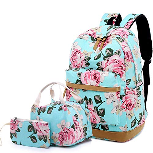 Lmeison Floral Backpack for Women Girls, College Bookbag with Lunch Bag and Pencil Case, Lightweight Travel Daypack for Work, Canvas 15inch Laptop Bag for School