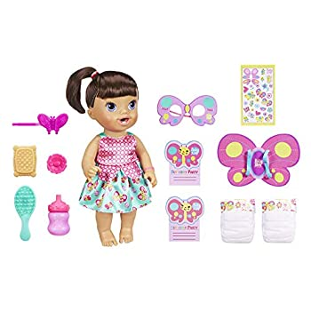 Baby Alive Butterfly Party  Brown Hair Doll with 12 Accessories That Drinks & Wets Great Doll for 3-Year-Old Girls & Boys & Up