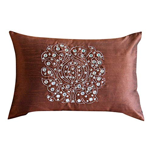 Le Homecentric décoratifs Taies d'oreiller Orange, Soie, taie d'oreiller, Faite à la Main Taie d'oreiller couvertures – Cristal Soir 20 x 26 inch Rouille