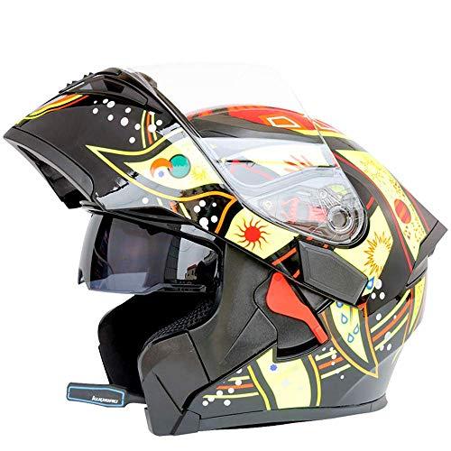 Liujie Bluetooth integraalhelm voor motorfietsen, modulair flip-up dubbel vizier, helm voor volwassenen, motorcross, geïntegreerd communicatiesysteem.