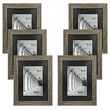 Studio 500, Distressed Grey Picture Frames from Our Distressed Collection (MDF2915) Grey, 6-Pack, Comes in Different Sizes (5x7)