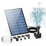Fuente Solar AISITIN, Bomba de Estanque Solar DIY de 2.5 W, Actualización 2021 con tubería de agua de 1,2 m Fuente solar con 6 Estilo, para estanque de jardín, baño de pájaros, pecera