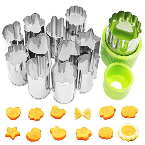 Waykino Lot de 12 coupe-légumes en acier inoxydable pour fruits et légumes Vert argenté