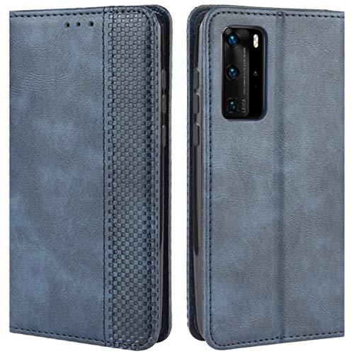 HualuBro Handyhülle für Huawei P40 Pro Plus Hülle, Retro Leder Stoßfest Klapphülle Schutzhülle Handytasche LederHülle Flip Hülle Cover für Huawei P40 Pro+ Plus 5G Tasche, Blau
