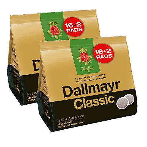 Dallmayr Classic Kaffeepads, für alle Pad Maschinen, Röstkaffee, Sanft, 32 + 4 Pads, á 6.9 g