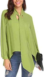 Womens Bowtie Neck Long Sleeve Solid Tunic Blouse Tops Shirt