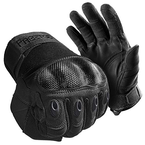 FREETOO Tactical Gloves for Men Military Gloves with Knuckle Protection Black Shooting Gloves for Airsoft Paintball Motorcycle and Heavy Duty Work (Black, X-Large)