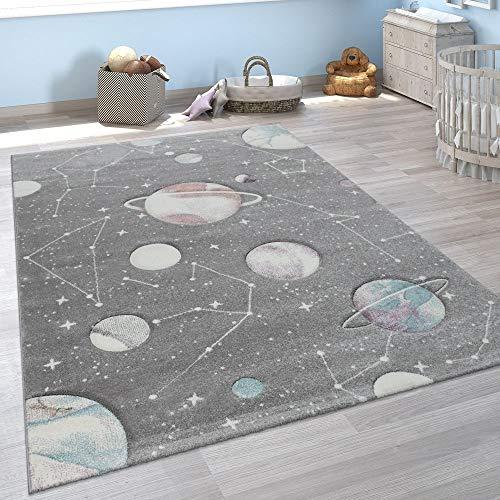 Alfombra Infantil Juego Planetas Y Estrellas para Dormitorio Niños En Gris, tamaño:120x170 cm