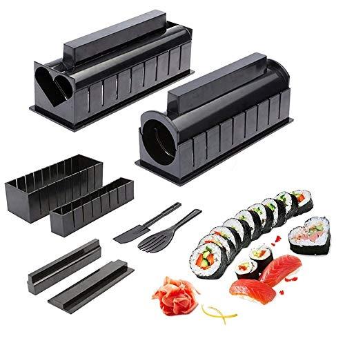 10 Pezzi Sushi Maker Kit Completo,Riso Rotolo Stampo, Fai da Te Sushi Stampi, Set Sushi Fai da Te per Principianti, 5 Stampo Shapes Triangle, Cuore, Rotondo, Piccolo Quadrato, Grande Piazza