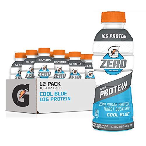 Gatorade Zero With Protein, 10g Whey Protein Isolate, Zero Sugar, Electrolytes, Cool Blue, 16.9 Fl Oz, 12 Pack