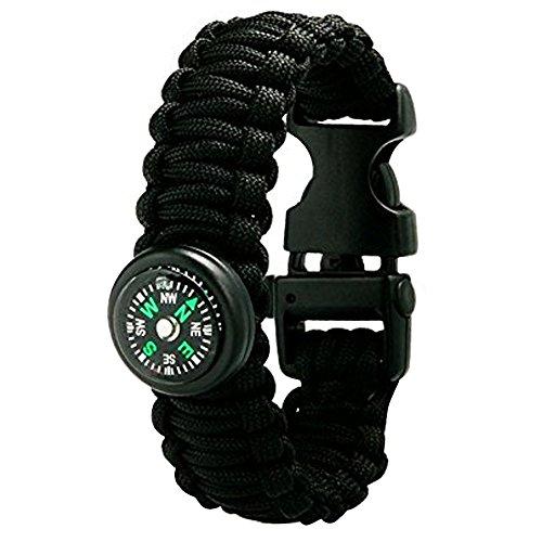 Sijueam Multi-fonctionnel Bracelet de Survie Paracorde 600lbs Tressage Boussole Allumé-feu Scrapper Sifflet Boucle Corde pour Randonnée Nautisme Chasse Camping Escalade - Noir