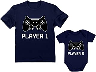 Gamer Shirts for Father & Son/Daughter Player 1 Player 2 Men Tee Baby Bodysuit