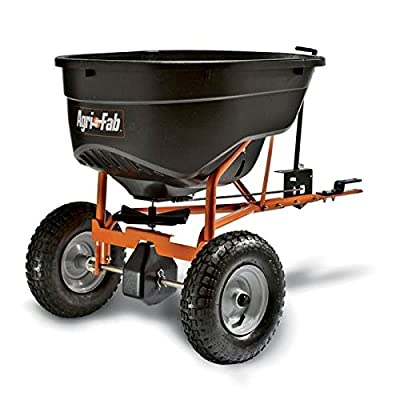 Super Heavy Duty Pull-Tow Behind 130 Pound Yard Lawn Field Garden Broadcast Spreader- Rod Linked On/Off With Precise Settings- Cased Gear Box Tapered Gearing- All Season Tires Long Lasting Durable