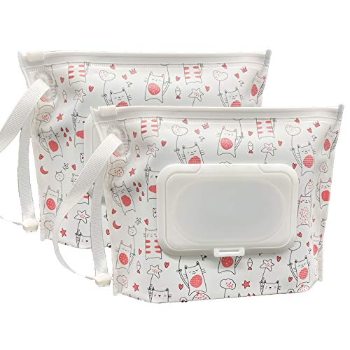 ULVBABI 2 Pack Portable Wet Wipe Pouch Container, Reusable & Refillable Baby Wipes Dispenser, Eco Friendly and Lightweight Handy Travel Diaper Wipes Carrying Case Holder (Love Cat Pattern)