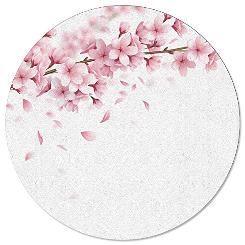 MAIANNE Round Area Rugs with Soft Rubber Backing Cherry Blossoms Non-Slip Floor Carpet Fit for Children Bedroom Living Room Playroom Hallway 5 ft Diameter