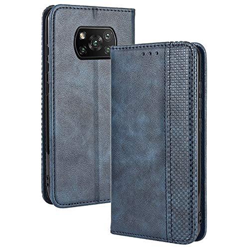 TANYO Leder Folio Hülle für Xiaomi Poco X3 Pro | X3 NFC, Premium Flip Wallet Tasche mit Kartensteckplätzen, PU/TPU Lederhülle Handyhülle Schutzhülle - Blau