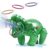 Prextex 2 in 1 Dinosaur Water Sprinkler and Ring Toss Combo Inflatable Water Toy Fun Outdoor Water Toys Activity for Toddlers and Kids