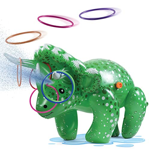 Prextex 2 in 1 Dinosaur Water Sprinkler and Ring Toss Combo Inflatable Water Toy