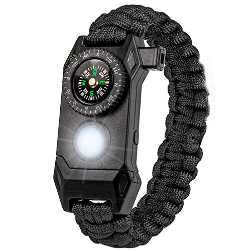 N \ A Paracord Bracelet Buckle Survival, Survival Gear| Flint Fire Starter, Whistle, Compass & Scraper for Outdoor, Essential for Hiking Travelling Camping Fishing & More Gear Kit