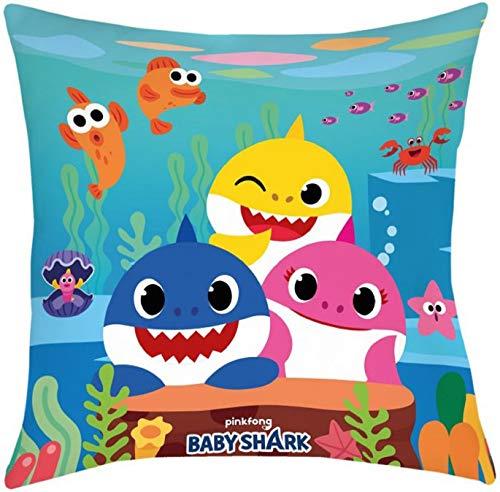 Halantex - Baby Shark Cojin Almohada 3 Personajes Canción Doo Doo Tiburón papá y mamá Oficial Original Song PinkFong - 40x40cm