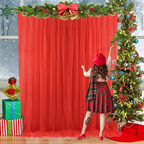 Red Tulle Backdrop Curtains for Parties Christmas Weddings Baby Shower Birthday Photography Engagement 5ft x 7ft Drape Backdrop