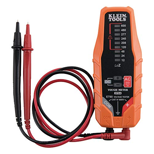 Klein Tools ET60 Voltage Meter, AC Voltage and DC Voltage Tester, Digital Multimeter Does Not Require Batteries