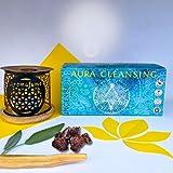 Aromfume Aura - Kit de inicio de ladrillo de incienso y set de regalo, paquete de 12 ladrillos (4 salvia blanca, 4 sangre de dragones, 4 Palo Santo) y quemador de incienso exótico