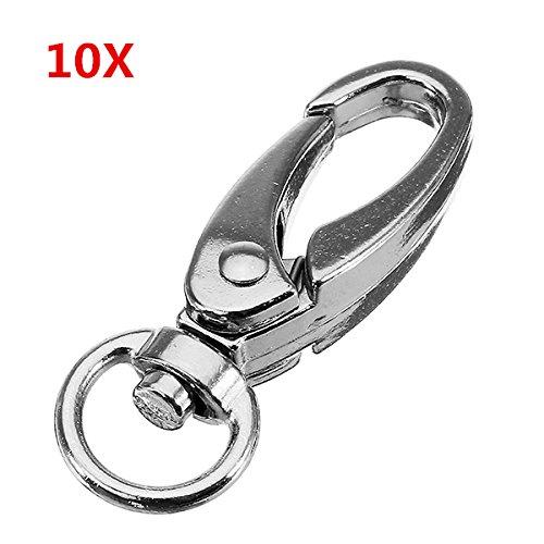 CHIMAKA 10 Unids 37.5mm Aleación de Zinc de Plata Oval Giratoria Spring Snap Hook Hook Trigger Clip con 8.5mm Anillo Redondo Nuevos accesorios de bricolaje