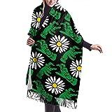 Tengyuntong Bufanda de mantón Mujer Chales para, Bufanda de cachemir con flores de mano verde para mujeres, hombres, ligeras, unisex, moda, bufandas suaves de invierno, chal con flecos, abrigo