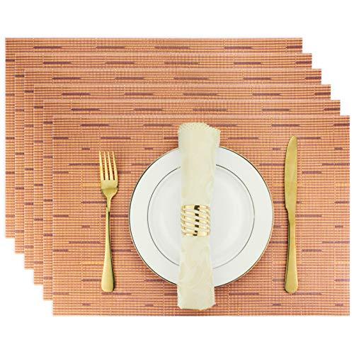 Evevda - Juego de 6 manteles individuales para mesa de comedor, rectangular, de vinilo tejido, lavable, para decoración de mesa, 45,7...