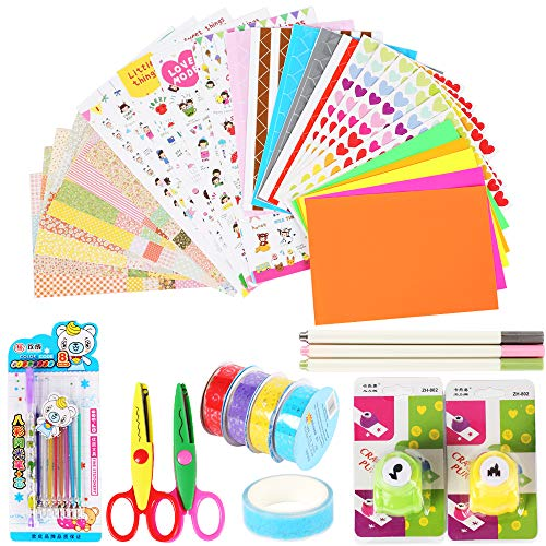 NACTECH Kit Fotos Album de Bricolaje DIY Accesorios Decorativos Materiales Scrapbooking Diseño 25 Conjunto de Pegatinas Colores 4 Cintas de Encaje Adhesivas Album Fotos Scrapbooking Bolígrafo Tinta