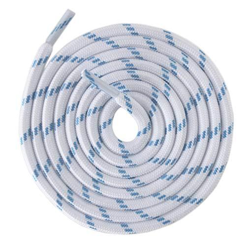 Mshega Round Athletic Shoelaces Dot Hiking Shoe Laces(White & Light Blue,120 cm)