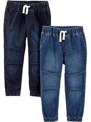 Simple Joys by Carter's Boys' Toddler 2-Pack Pull On Denim Pant, Heritage Rinse/Oceana Blue, 5T